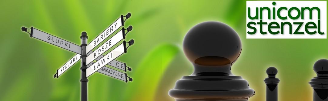 UNICOM – STENZEL: słupki, ławki, barierki, kosze uliczne, tablice informacyjne czyli mała architektura