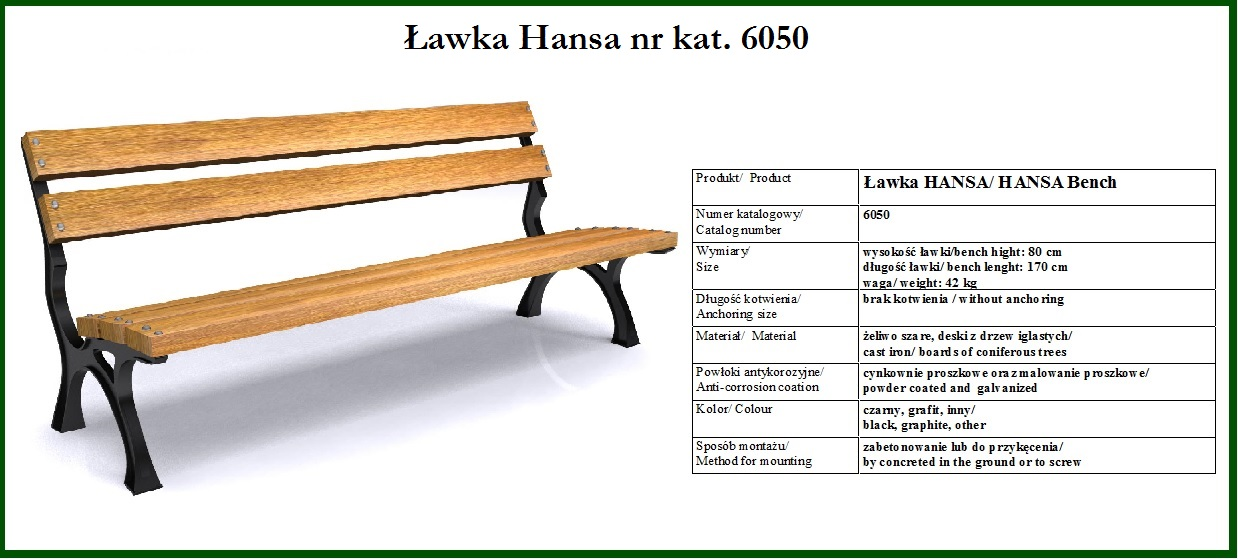 Ławka żeliwna HANSA