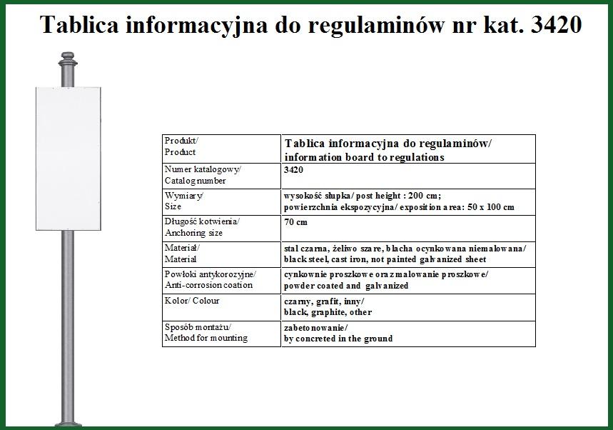 Tablica informacyjna  do regulaminów
