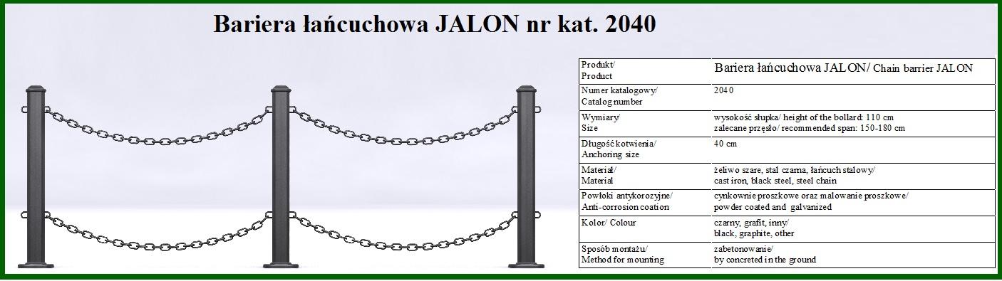 barierka jalon z łańcuchem