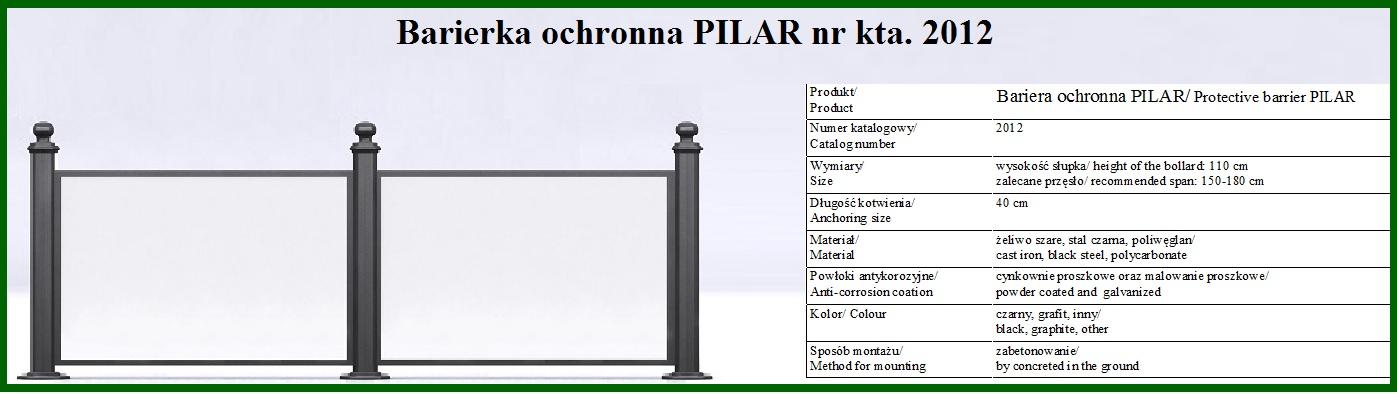 barierka pilar z poliwęglanem