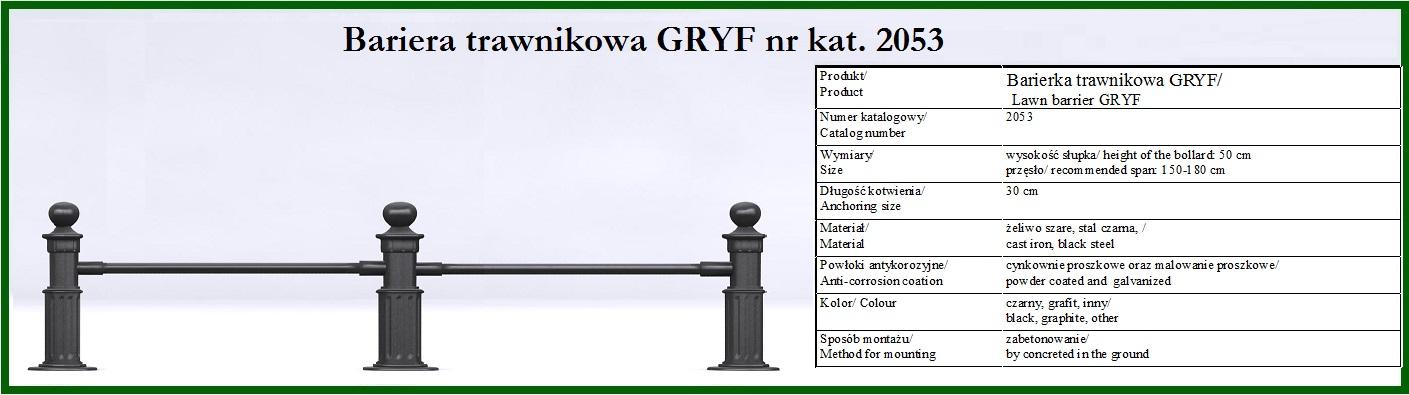 barierka trawnikowa GRYF